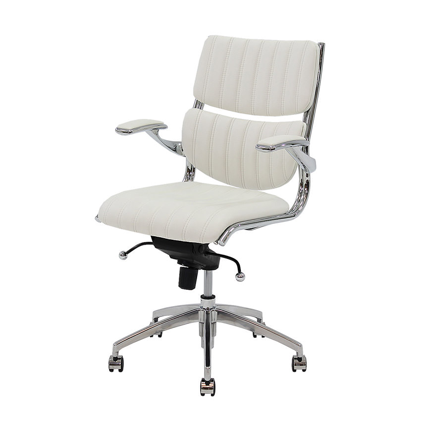 Bell White Low Back Desk Chair  main image, 1 of 6 images.