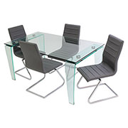 Vera/Janet Gray 5-Piece Casual Dining Set  main image, 1 of 10 images.