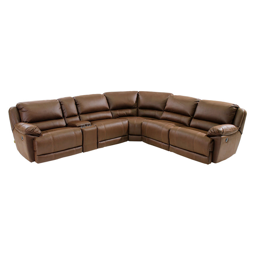 Augusto Chocolate Power Motion Sofa w/Right & Left Recliners  main image, 1 of 8 images.