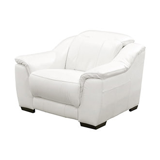 Davis White Power Motion Leather Recliner