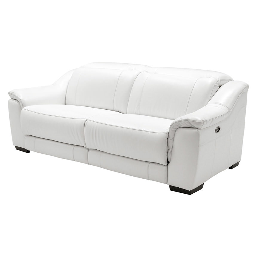 Davis White Power Motion Leather Sofa  main image, 1 of 11 images.