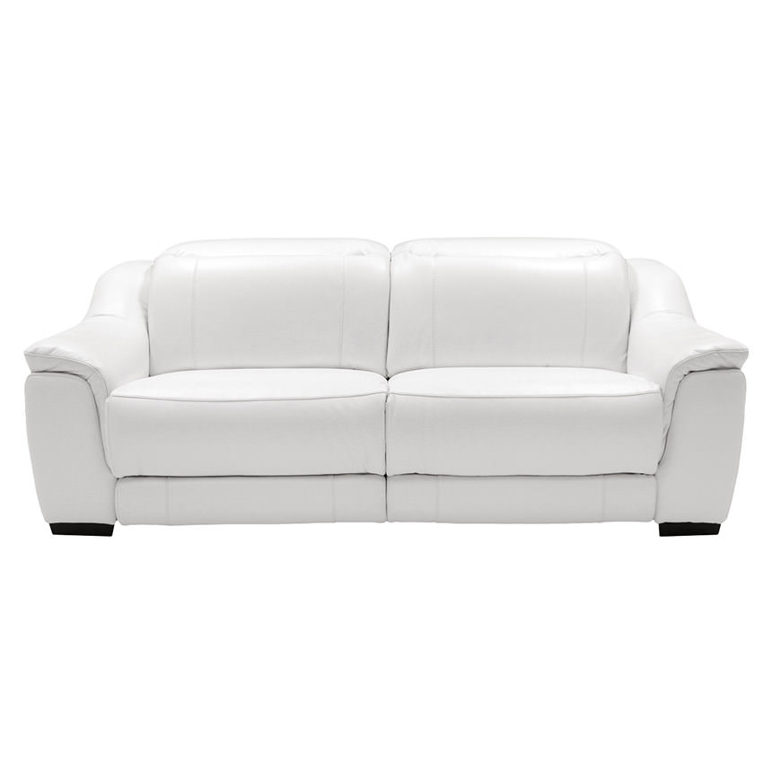 Davis White Power Motion Leather Sofa  alternate image, 6 of 11 images.
