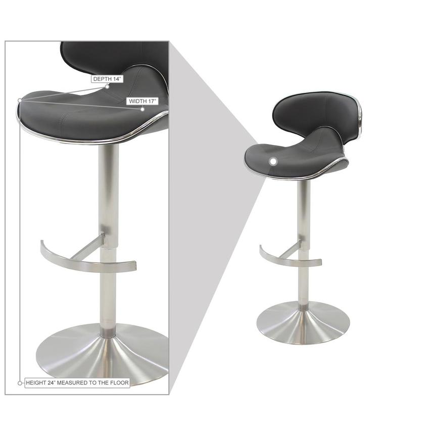 Ecco Gray Adjustable Stool  alternate image, 7 of 7 images.