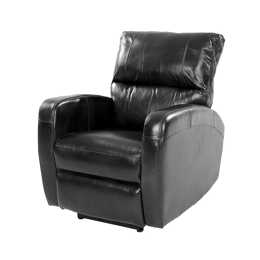 Keegan Black Power Motion Leather Recliner  main image, 1 of 8 images.