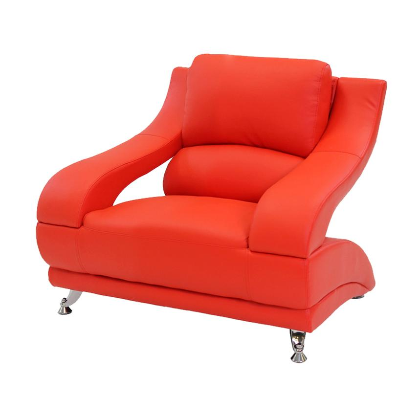 Jedda Red Leather Chair  main image, 1 of 5 images.