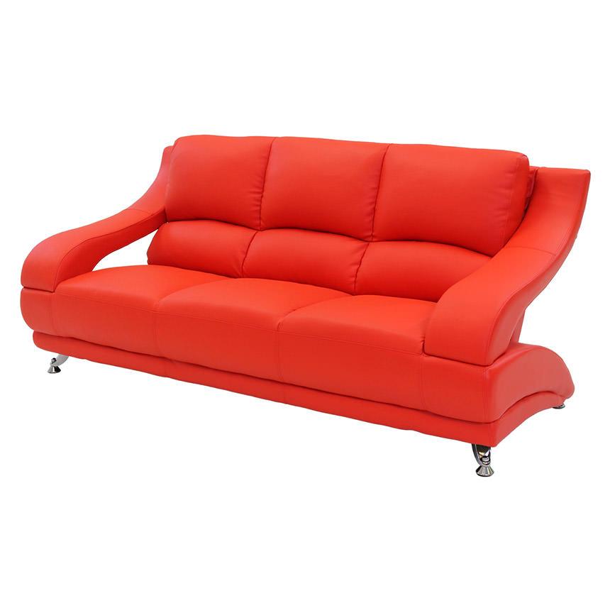 Jedda Red Leather Sofa