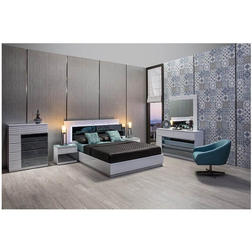Manhattan White Mirrored King Platform Bed El Dorado