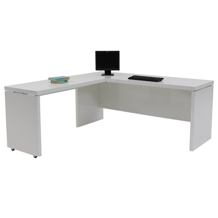 Sedona White L-Shaped Desk Made in Italy  alternate image, 2 of 5 images.