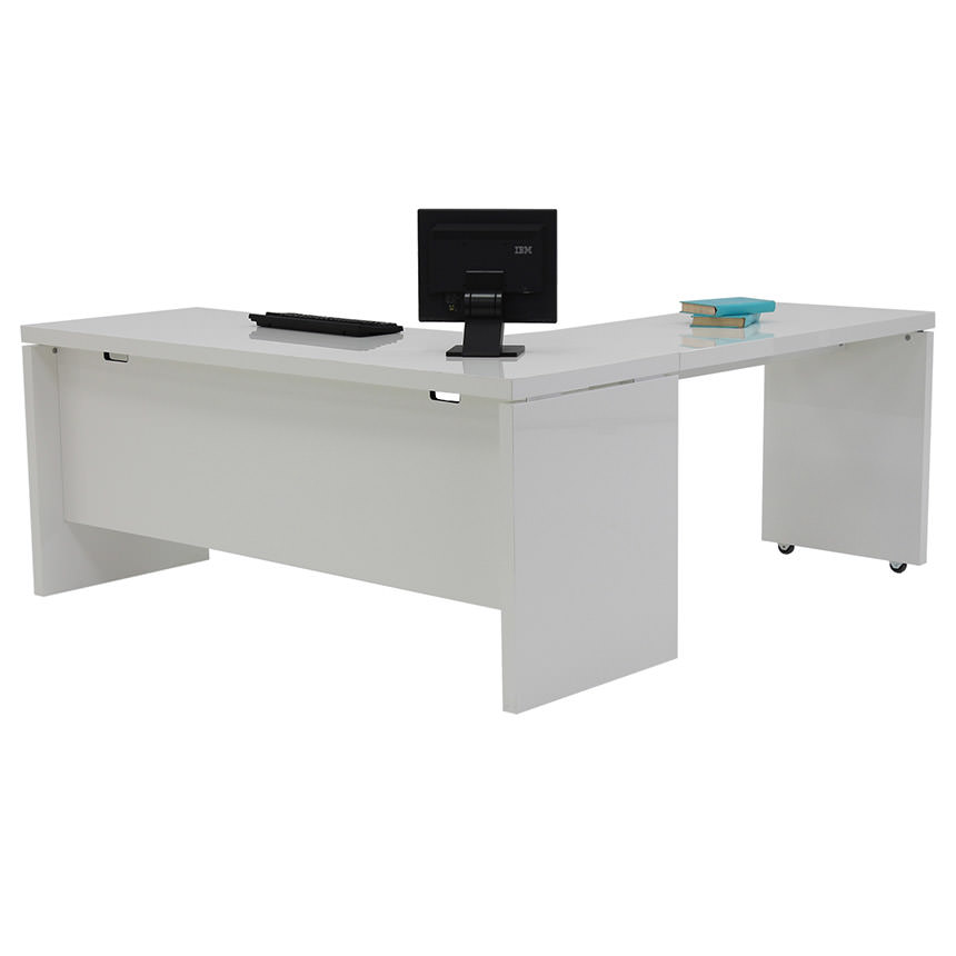 Sedona White L-Shaped Desk Made in Italy  main image, 1 of 5 images.