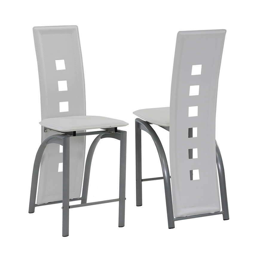 Dominoes White 5-Piece High Dining Set  alternate image, 6 of 8 images.