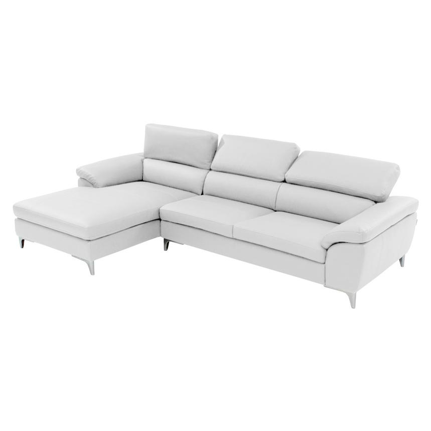 Costa White Sofa w/Left Chaise  alternate image, 2 of 6 images.