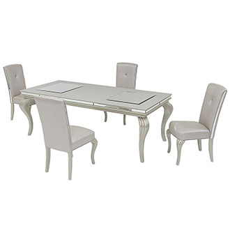 Hollywood Loft Frost 5-Piece Formal Dining Set