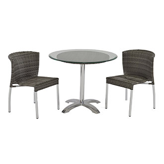 Gerald Gray 3-Piece Patio Set w/10mm Glass Top