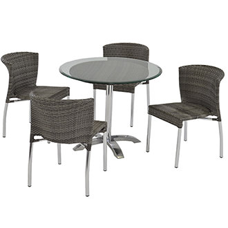 Gerald Gray 5-Piece Patio Set w/10mm Glass Top