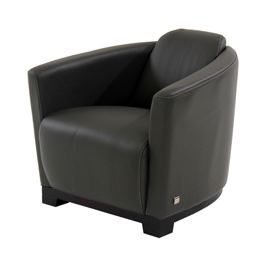 Fellini Gray Leather Accent Chair  main image, 1 of 7 images.