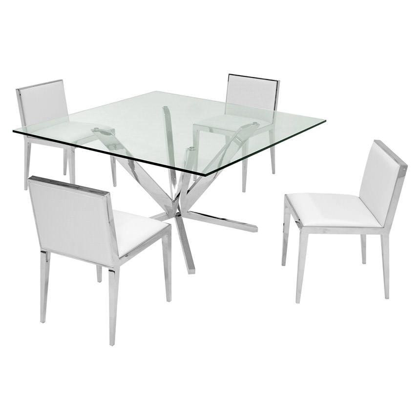 Ghettys I White 5-Piece Formal Dining Set  main image, 1 of 7 images.