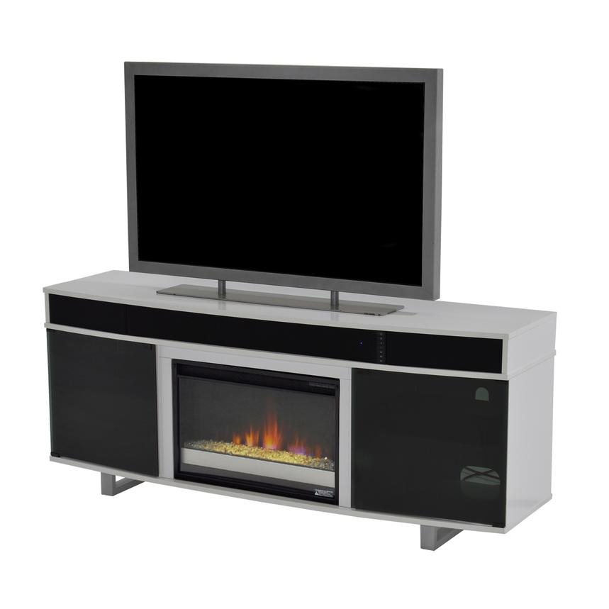 Enterprise White Faux Fireplace W/Speakers