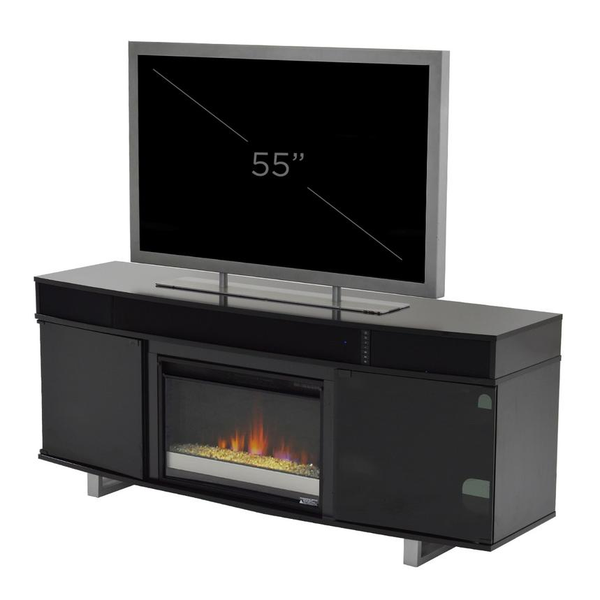 Enterprise Black Electric Fireplace w/Speakers  alternate image, 6 of 6 images.
