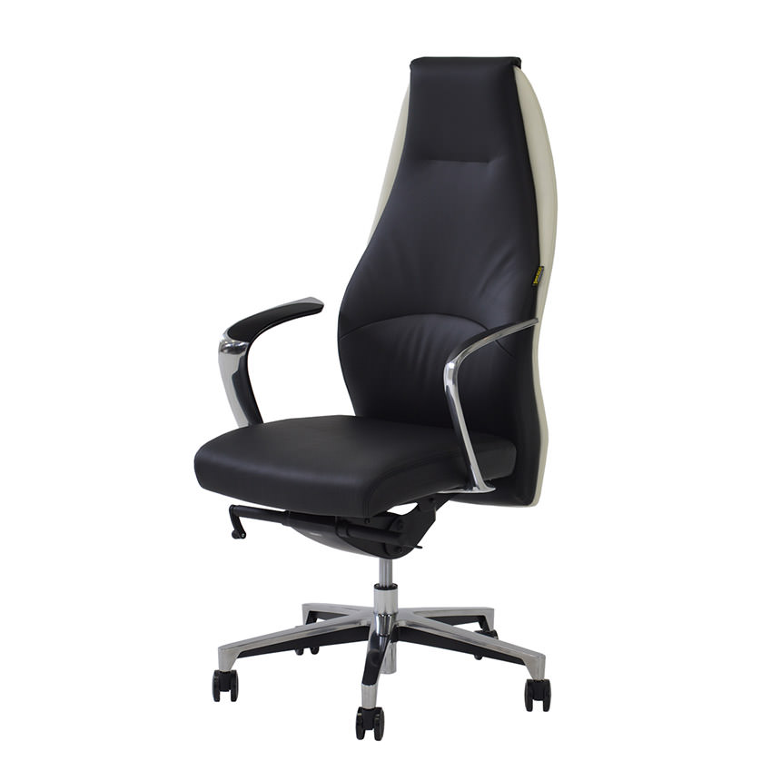 Prector Black/White Leather Desk Chair  main image, 1 of 6 images.