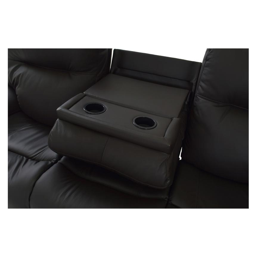 Evian Gray Power Motion Leather Sofa  alternate image, 7 of 9 images.