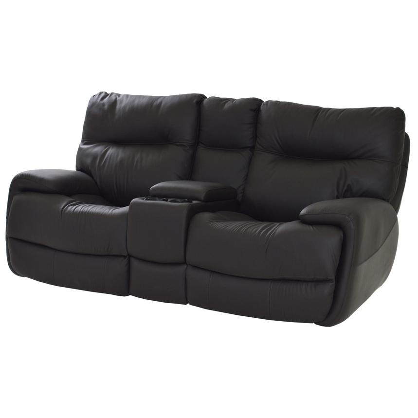 Evian Gray Leather Power Reclining Sofa w/Console