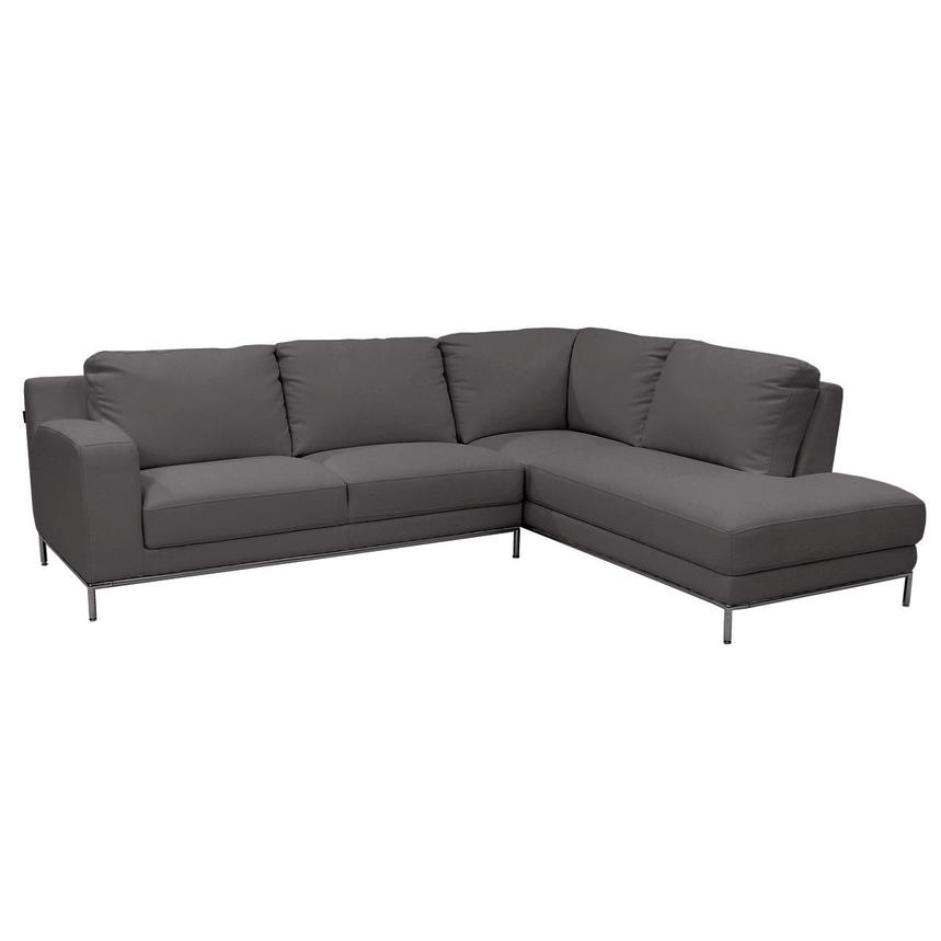 Cantrall Dark Gray Sofa w/Right Chaise  main image, 1 of 6 images.