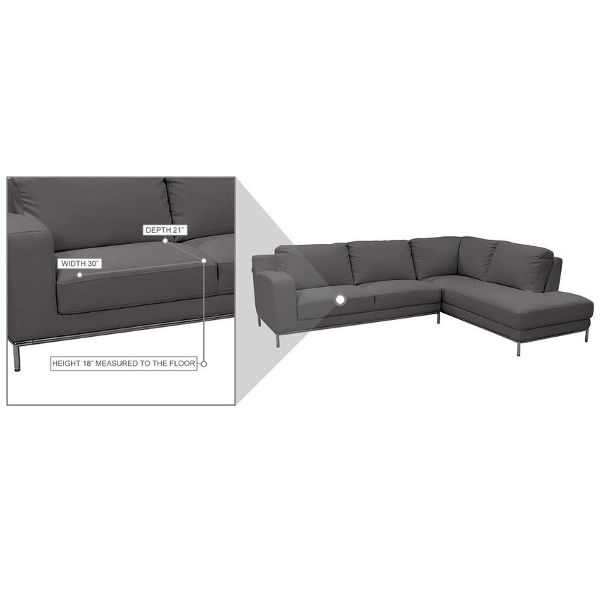 Cantrall Dark Gray Corner Sofa w/Right Chaise  alternate image, 7 of 9 images.