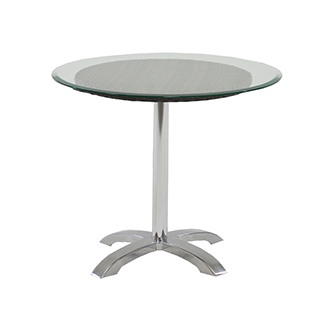 Gerald Black Round Dining Table w/10mm Glass Top