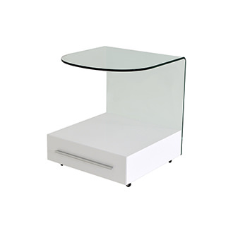Maria White Side Table w/Casters