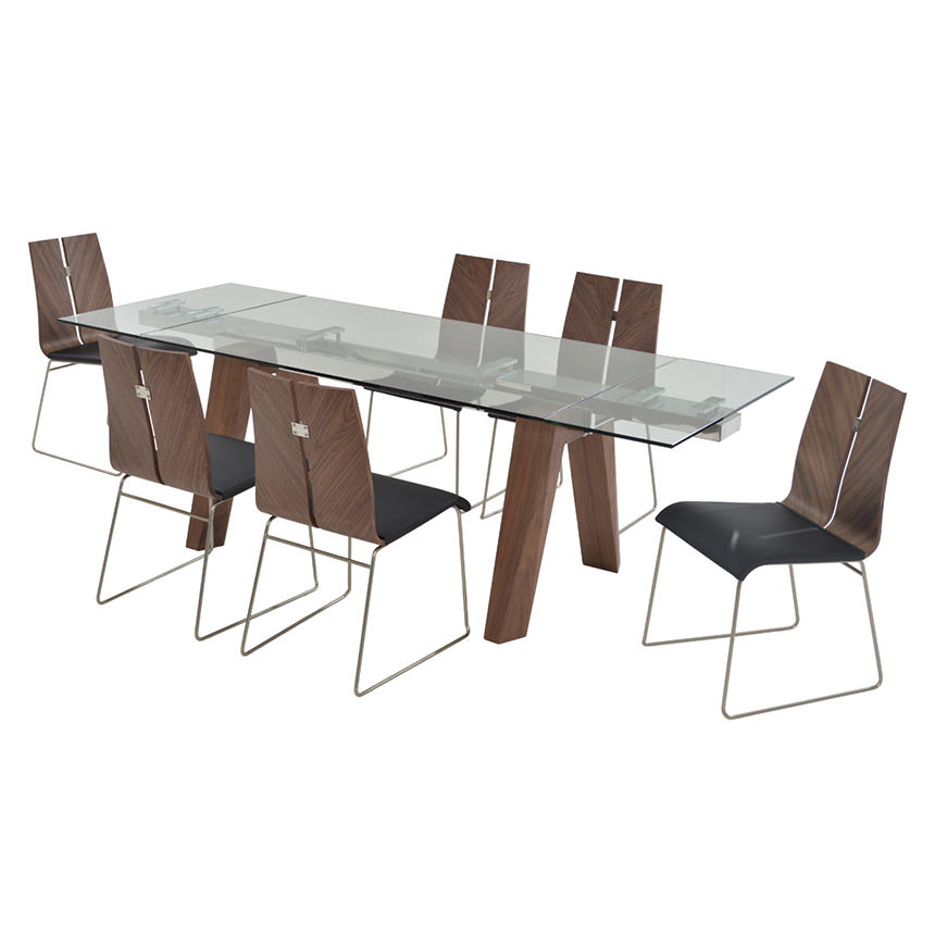 Valencia Brown/Black 5-Piece Formal Dining Set  alternate image, 2 of 13 images.