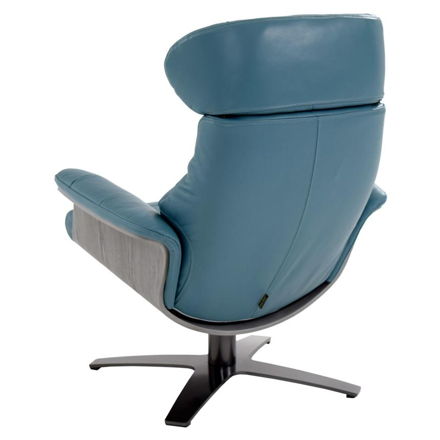 Enzo Blue Leather Swivel Chair  alternate image, 7 of 13 images.