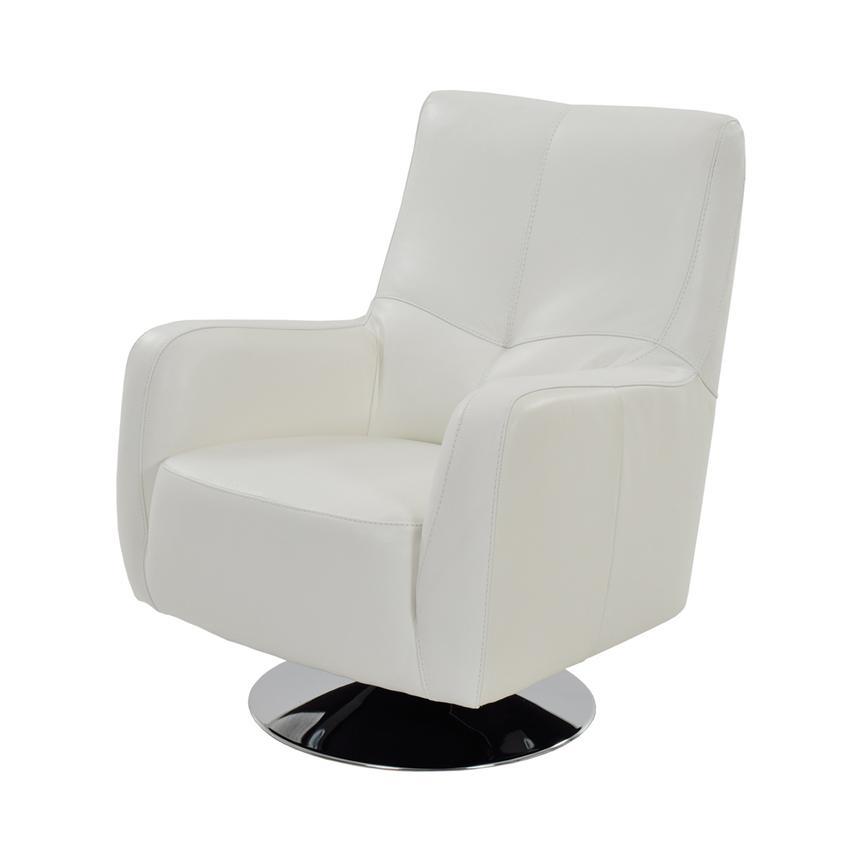 Verona White Leather Swivel Chair