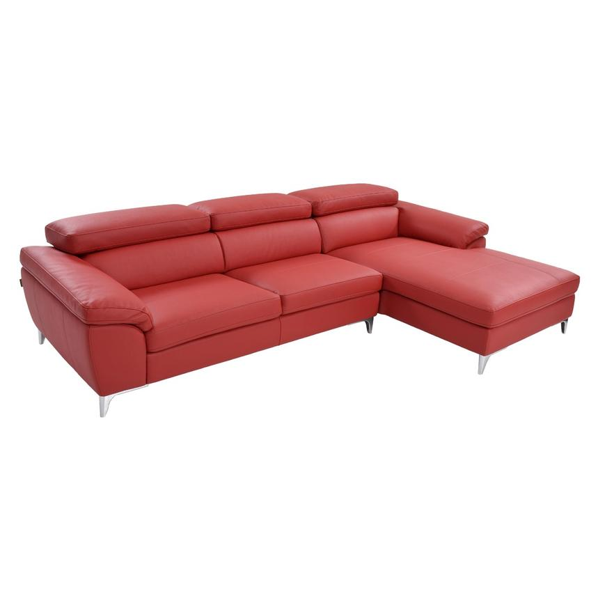 Costa Red Sofa w/Right Chaise  main image, 1 of 6 images.