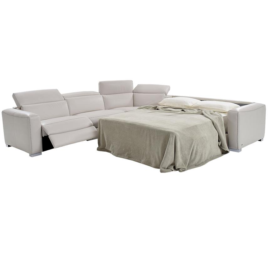 Bay Harbor Light Gray Leather Power Reclining Sectional w/Right Sleeper  alternate image, 2 of 8 images.