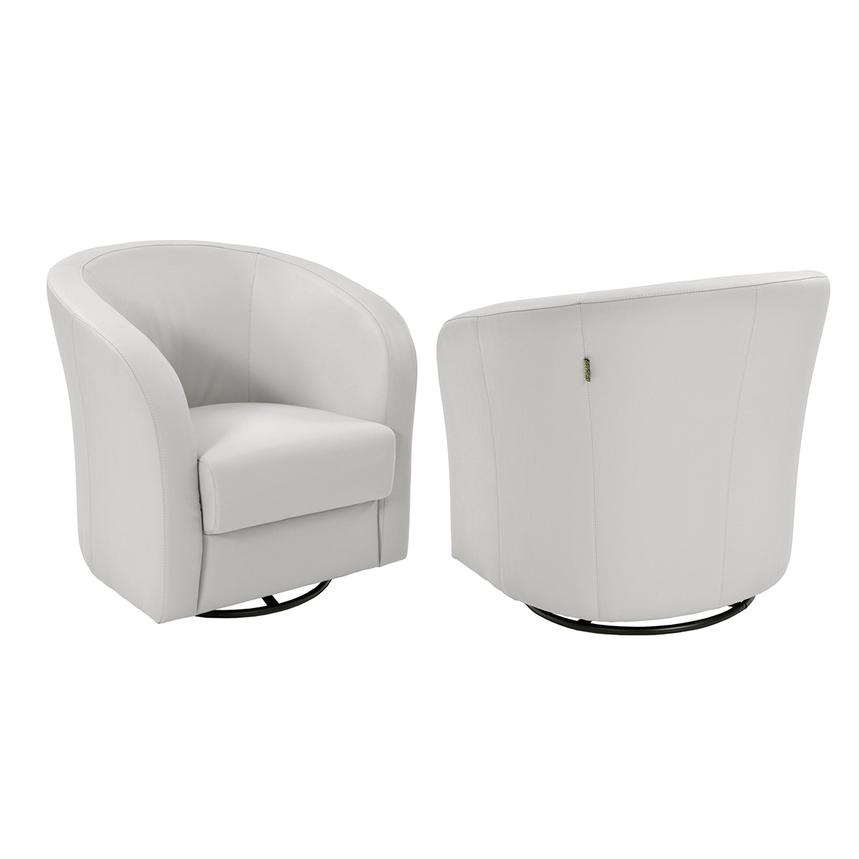 Delia White Swivel Accent Chair  alternate image, 2 of 5 images.