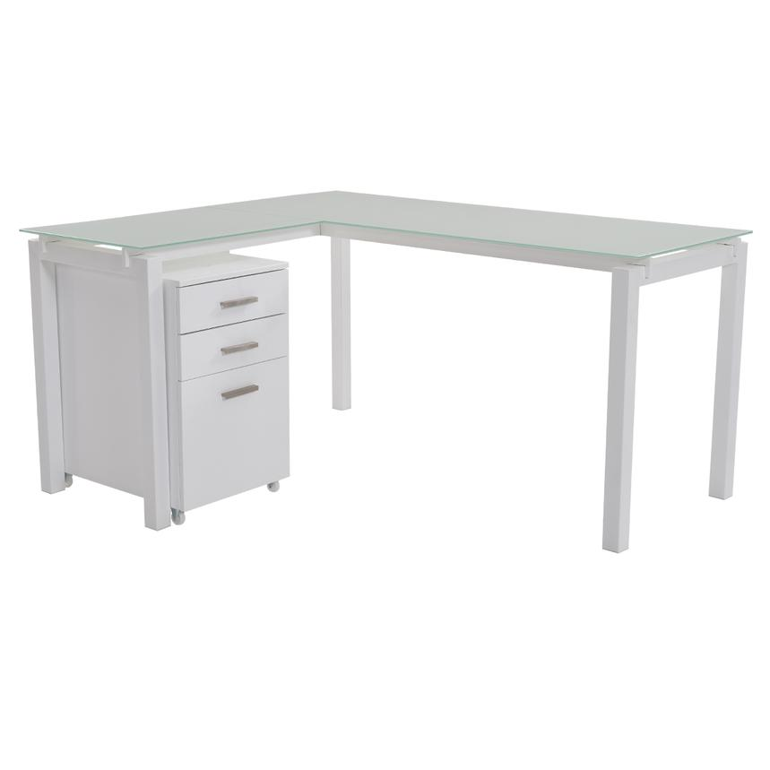 Soni L-Shaped Desk w/File Cabinet  main image, 1 of 12 images.