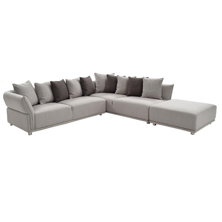 Alonzo Gray Sectional Sofa w/Ottoman  main image, 1 of 5 images.