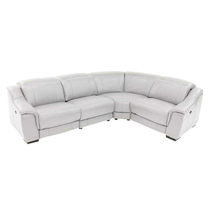 Davis White Leather Power Reclining Sectional  main image, 1 of 9 images.
