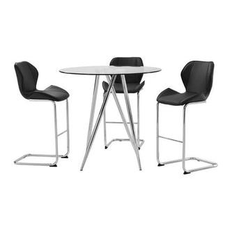 Latika Black 4-Piece Counter Dining Set