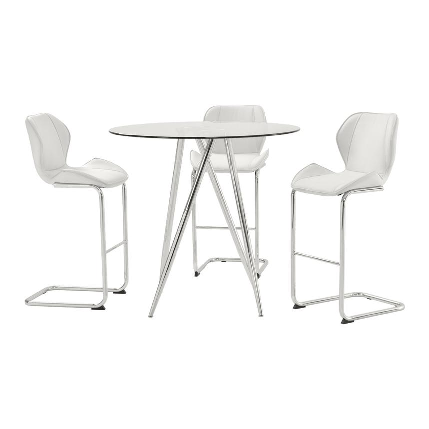 Latika White 4-Piece High Dining Set  main image, 1 of 8 images.
