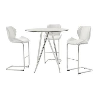 Latika White 4-Piece Counter Dining Set