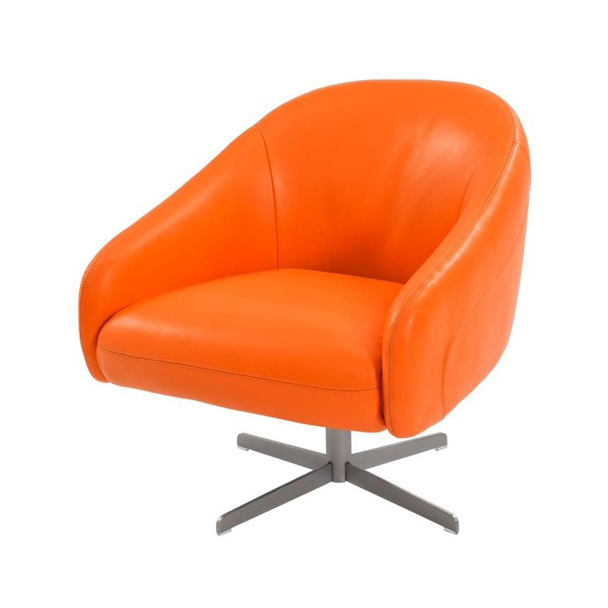 Brookville Orange Leather Swivel Chair El Dorado Furniture