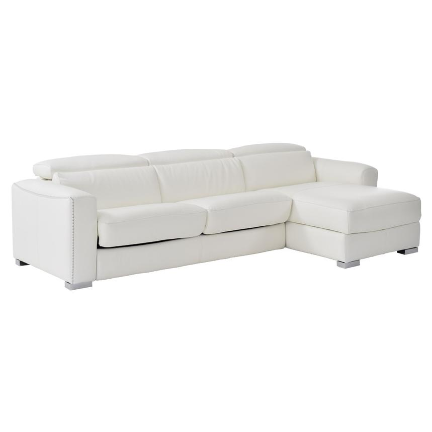 White Leather Sleeper W Right Chaise