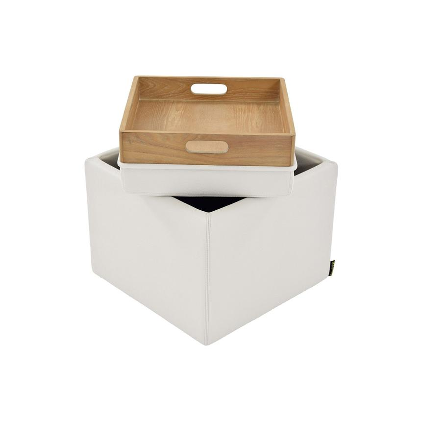 Bucky White Ottoman w/Storage  main image, 1 of 4 images.