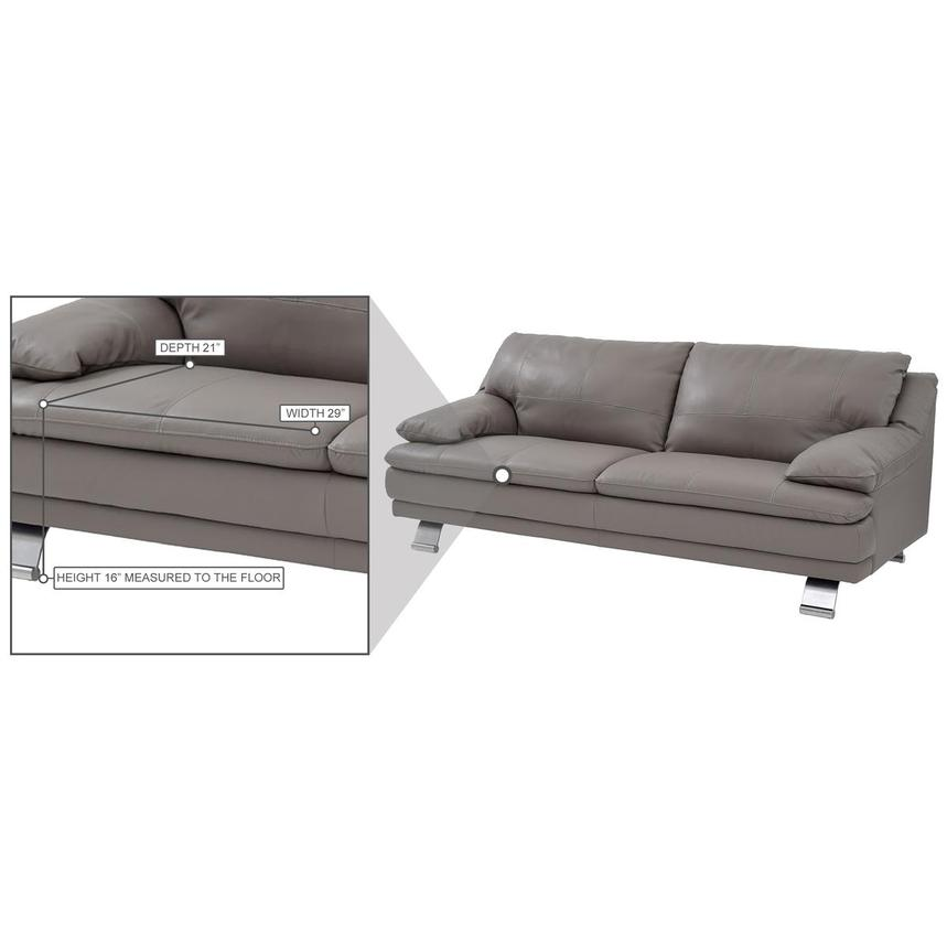 Rio Light Gray Leather Sofa  alternate image, 8 of 8 images.