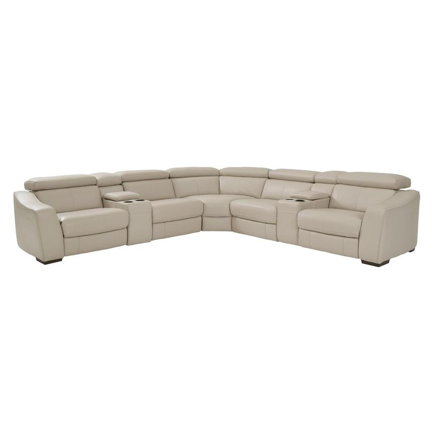James Cream Power Motion Leather Sofa w/Right & Left Recliners  main image, 1 of 9 images.
