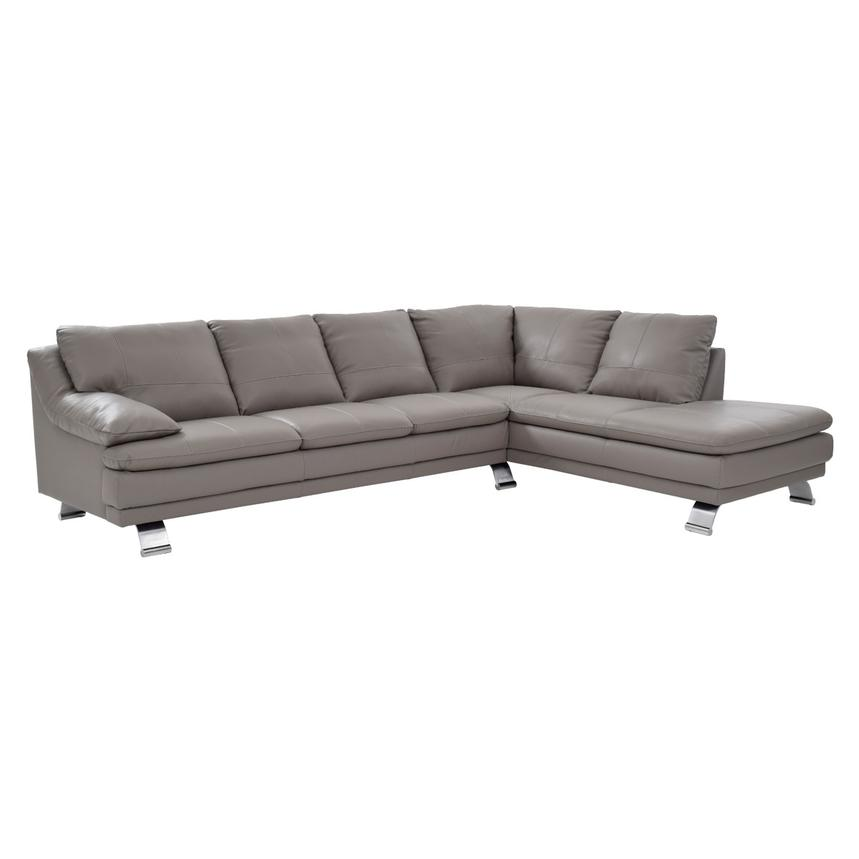 Rio Light Gray Leather Sofa w/Right Chaise  main image, 1 of 7 images.
