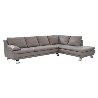 Rio Light Gray Leather Corner Sofa w/Right Chaise