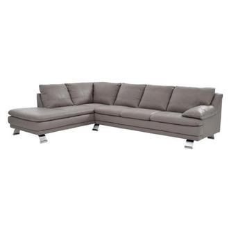Rio Light Gray Leather Sofa w/Left Chaise
