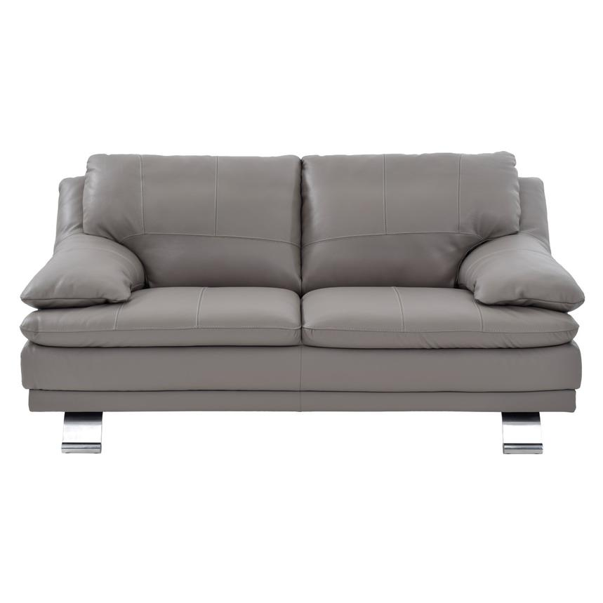 Rio Light Gray Leather Loveseat  alternate image, 2 of 8 images.